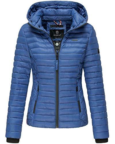 Marikoo Damen Jacke Steppjacke Übergangsjacke mit Kapuze gesteppt B600 (XL, Royalblau)