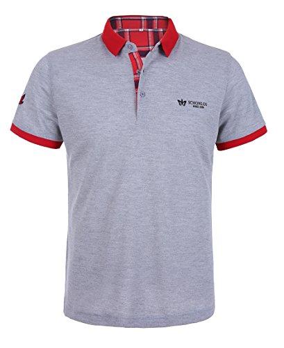 Schonlos Herren Poloshirt Kurzarm Patchwork Sommer T-Shirt Men's Polo Shirt(Grau,S)