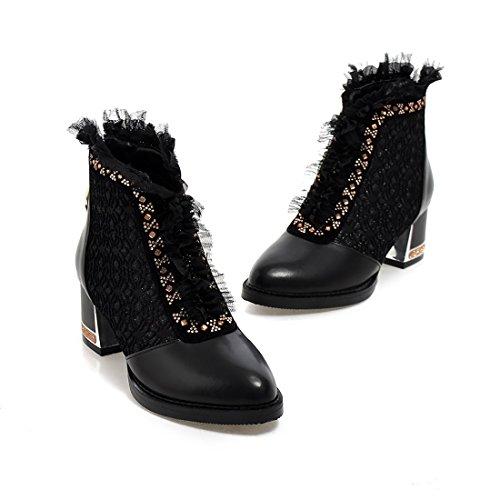 UH Femmes Chaussures Bottines avec Lace à Cheville Talons Moyenne Blocs Conforts et Elegantes Fermeture Eclair Retour pour l'automne Noir