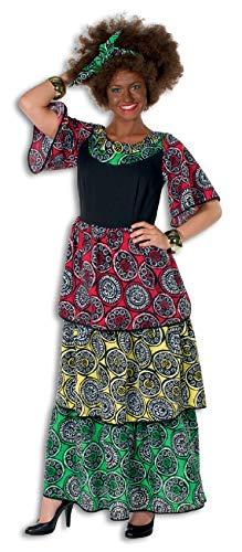 Krieger Kostüm Dschungel - narrenkiste L3201190-40-A grün-rot-gelb Damen Afrikakleid Mama Afrika Gr.40
