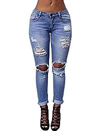 Mujer Vaqueros Push Up Skinny Pantalones Boyfriend Jeans Pitillo Elasticos Tejanos Rotos