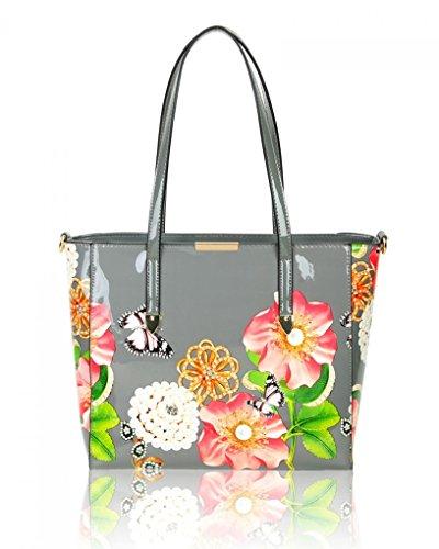 LeahWard Damen Patent Flower Large Size Handtaschen Einkaufstasche für Frauen Urlaub 605 (PERLE BUSINESS-TASCHE) DUNKELGRAU SCHULTERTASCHE