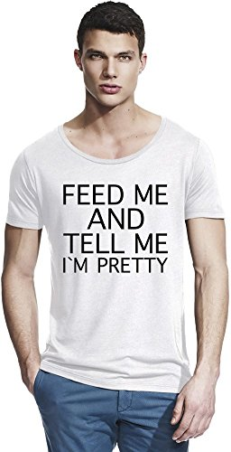 Feed Me And Tell Me I'm Pretty Funny Slogan Bamboo Wide Neck T-shirt X-Large