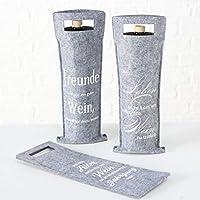 Boltze Rotger Wine Bag Felt Grey Height 41 cm Pack of 3