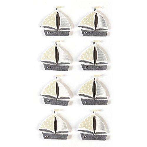Artoz 3D Sticker | Schiff / Boot | Handarbeit! | 1 Pack (8 Sticker) | Ideal zum Basteln für Einladungskarten, Tischkarten und Danksagungen für Kommunion Konfirmation Taufe Hochzeit & Urlaubskarten