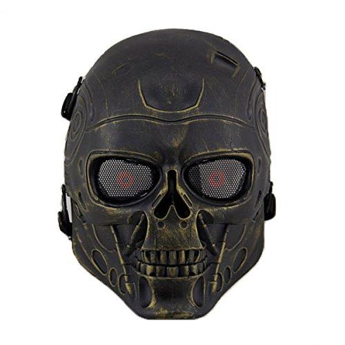 Dunkle Bronze Air (haoYK Full Face Airsoft Maske Taktische Paintball CS Schutzausrüstung Ausrüstung mit Metallgewebe Augenschutz (Bronze))