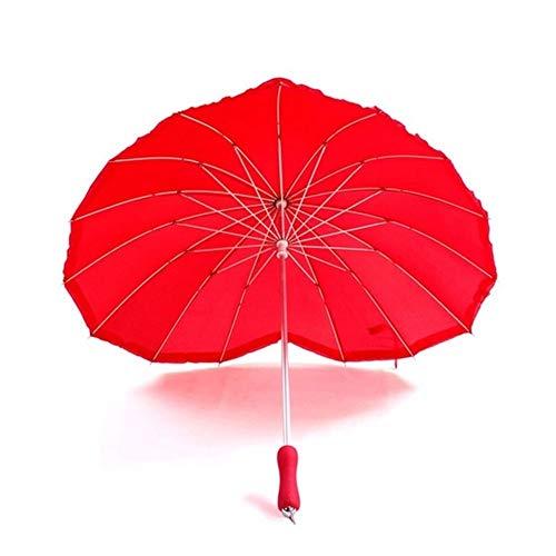 T-M Rote Herz-Form-Regenschirm-Pfirsich-Herz-Frauen Regenschirme for Valentine Hochzeit Verlobungs-Foto-Props Stiel Unbrellas -