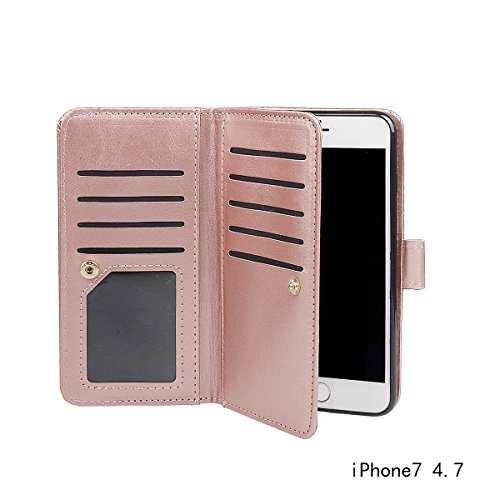 "xhorizon TM FM8 Cuir Premium Folio étui [ la fonction de portefeuille] [magnétique détachable] Sac à main bracelet souple Carte Multiple couvrefente pour iPhone 7(4.7"") Rose d'or+chargeur"