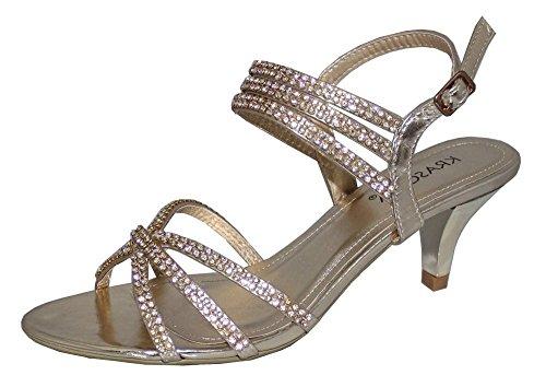 Strass étincelants pour femme à talon bas en Mariage Soirée-Chaussures Sandales Or - doré