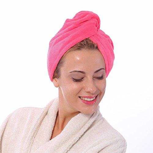 Foto de Microfibra toalla para el pelo anti-frizz Super absorbente turbante Wrap para peinados de largo, corto o rizado por Bravo, Microfibra, Rosa, 65 X 25 CM