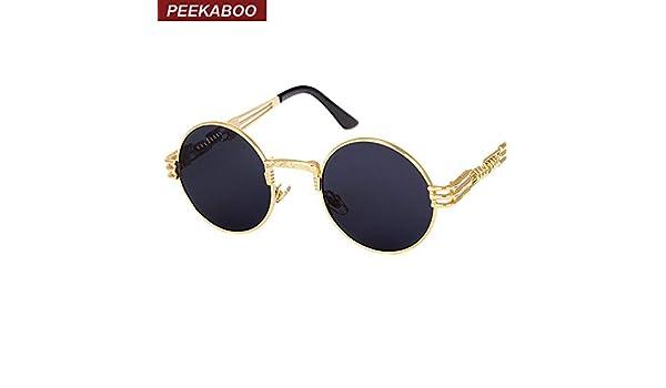 41a67560f98a4 AlyBnd Peekaboo vintage retro gothic steampunk mirror sunglasses gold and black  sun glasses vintage round circle men UV gafas de sol  Amazon.co.uk  Kitchen  ...