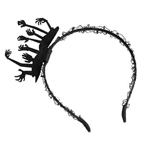 Lurrose Frauen Stirnband Gothic Scary Ghost Hand Spitze Halloween Kostüm Requisiten Headwear Haarschmuck FG-63 (schwarz)