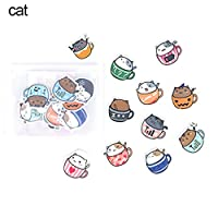 Deykhang 40Pieces Stationery Stikers Toy Paper Cute Hamster Cat Panda Shape For Calendar Diary Decorated Diary Book Scrapbook Notebook Decoration Cat