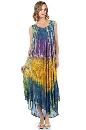 Sakkas 10831 Ombre Floral Tie Dye Tank Sheath Caftan Cotton Dress - Blue / One Size