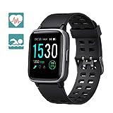 Arbily Montre Connectée Smartwatch Femmes Homme Montre Sport Podometre Cardio Frequencemètre Chronomètres, Bracelet Connecté Etanche 50 Mètres, Montre Tactile pour Android iOS Téléphone(Noir)