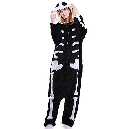 LSHEL Erwachsenen Tier Pyjama Jumpsuit Cosplay Unisex Cartoon Karneval Halloween Kostüm Fleece Overall Pyjamas, Skelett, XL (empfohlene Höhe 173-186 cm)