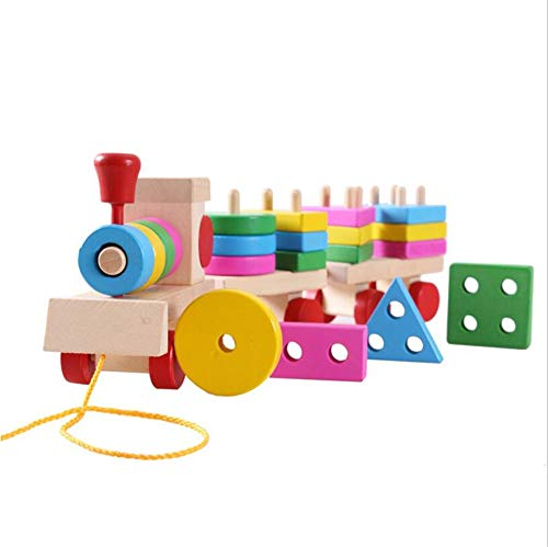 Chaiyan Kleinkinder Holzpuzzles-Shape Color Sorters Educational Geometric Board Block Stack Sort Toys Puzzle Toys 20 pcs 1-5 Year Old Boys Girls Pull Toys