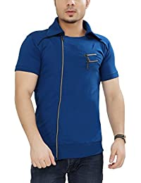 Tees Collection Men's Cotton Half Sleeve Side Zipper Blue Color Stylish T-Shirt With Collar