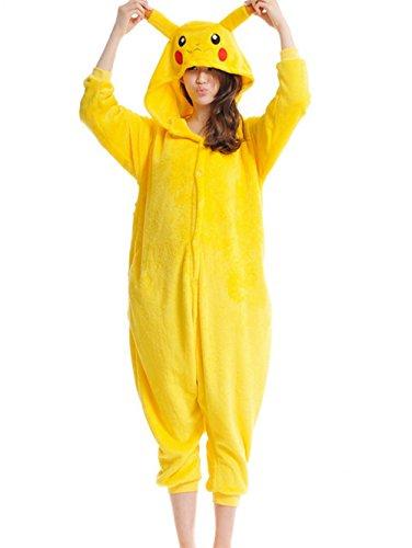 PADGENE Pyjama Animaux Cosplay Halloween Déguisement Adulte Femme Homme Unisexe, Pikachu, Large
