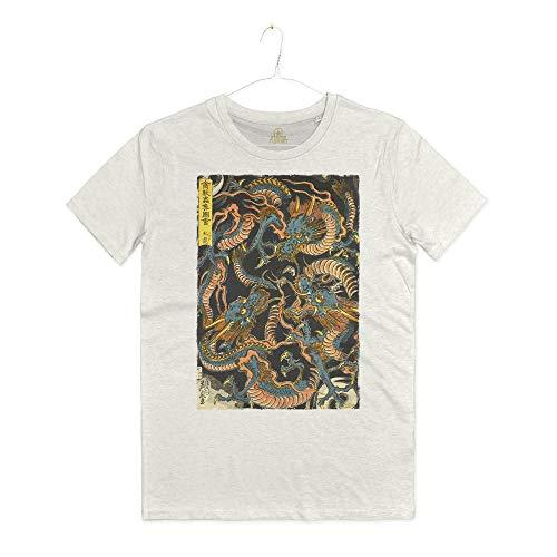 INSIDETSHIRT Maglietta Stampa Draghi Giapponesi Arti Marziali Dragone...