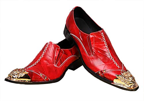 RHSMY Männer Stiefeletten, Herren Cowboy Stiefel Leder Lederstiefel Cowboystiefel Knöchel Lederschuhe Cuban Heel Spitze Metallzehe Hochzeitsschuhe Größe,Rot,41EU/7UK -