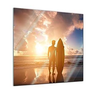 Bilderdepot24 Glasbild Surfer im Sonnenuntergang II – 20 x 20 cm – Deko Glas – brilliante Farben, inkl. Aufhängung