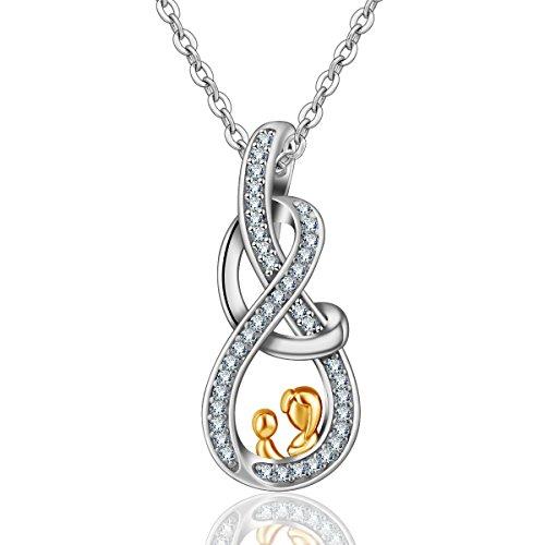 �r Mama, 925 Sterling Silber '' Mutter und Kind '' Anhänger mit Zirkonia Schmuck, bestes Geschenk für Mutter Frauen Mädchen ()