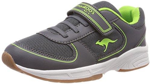 KangaROOS Unisex-Kinder Sinu EV Sneaker, Grau (Steel Grey/Lime), 39 EU