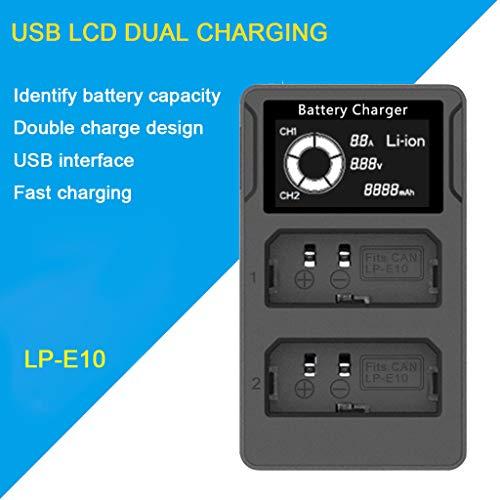 LCD Dual Charger Kamera Ladegerät für Canon EOS Rebel T3 Rebel T5 Rebel T6 Kiss X50 Kiss X70 EOS 1100D EOS 1200D EOS 1300D ()