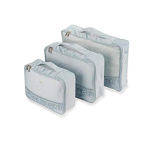 Aufbewahrungstasche Reise Aufbewahrungstasche Set Reisegepäck Sortiertasche Spitzentasche Multifunktions Kleidung Aufbewahrungstasche blau grau dreiteilig -