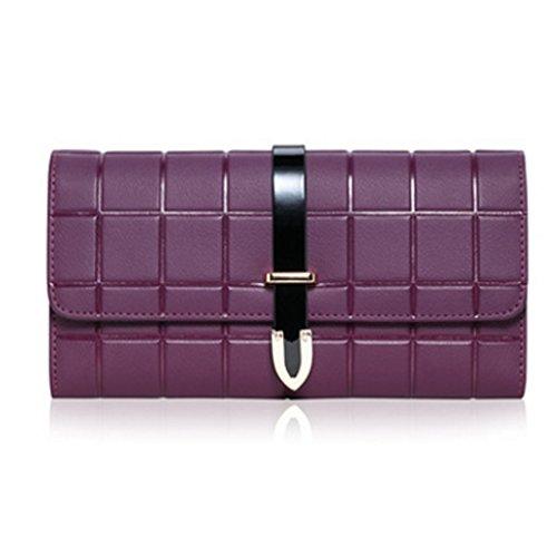 CLOTHES- Sacchetto di borsa dellinarcamento della borsa del raccoglitore del cuoio della signora della borsa Sezione lunga Semplicità di svago Borsa di multi-card di capacità elevata ( Colore : Blu ) Viola