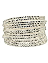 White Double Wrap Slake style Cuff with Swarovski Crystals - on Vegan Suede