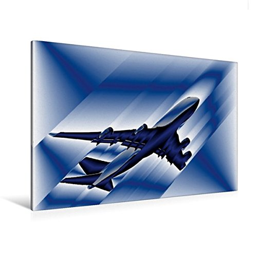Calvendo Premium Textil-Leinwand 120 cm x 80 cm Quer, Illustration Boing 747 | Wandbild, Bild auf Keilrahmen, Fertigbild auf Echter Leinwand, Leinwanddruck Technologie Technologie