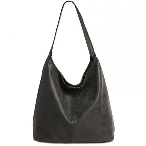 Caspar ts1015donne Vintage borsa a tracolla Black
