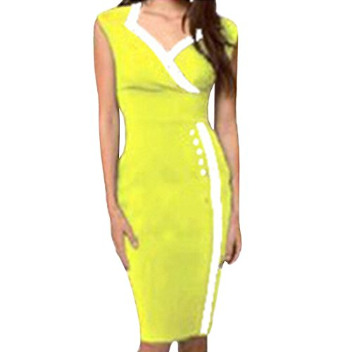 QIYUN.Z Manches Col V Ol Moulante Formelle Bouton Couverte Wrap Dress Crayon Sexy Gaine Jaune