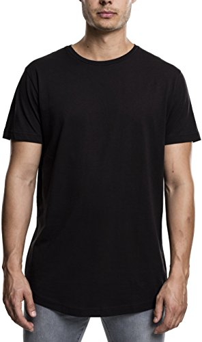 100% Baumwolle Tee (Urban Classics Herren T-Shirt Shaped Long Tee, Schwarz (Black 7), Large)