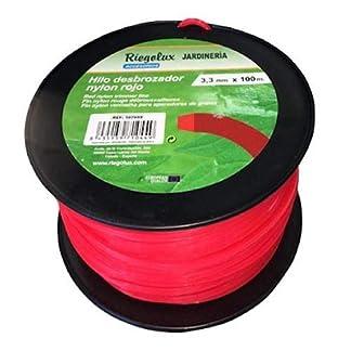 Riegolux 107667 Hilo Desbrozadora Nylon Cuadrada, Rojo, 3 mm x 100 m