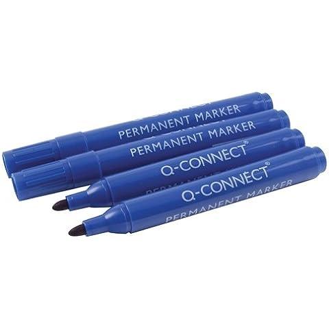 Q-Connect-Pennarello indelebile con punta a proiettile, colore: blu - Proiettile Tip Marker Pen