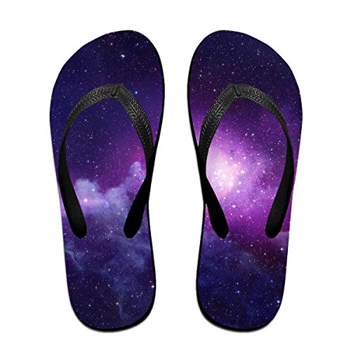 Blue and Violet Galaxy Unisex Adults Casual Flip-Flops Sandal Pool Party Slippers Bathroom Flats Open Toed Slide Shoes Small -