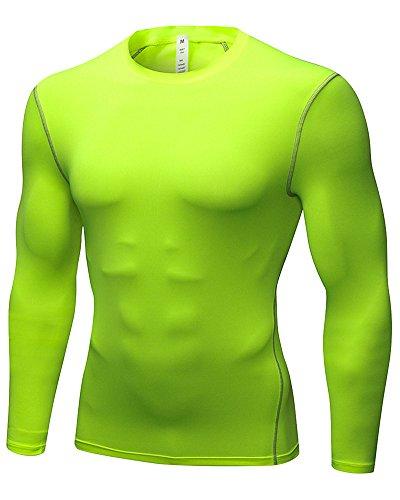 Herren T-Shirt Lange Ärmel Kompressionsshirt Lang Fitness Funktionsshirt Atmungsaktiv Elastisch Fluoreszierend Grün M -
