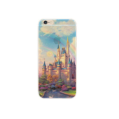 "Jinberry Colorate Custodia Protettiva in TPU Morbida per iPhone5s / SE (4"") Dipinto Ultrasottile 0.5mm Case Back Cover con Protezione Tappi Polvere Apple iPhone 5 / SE - Dream Castle"