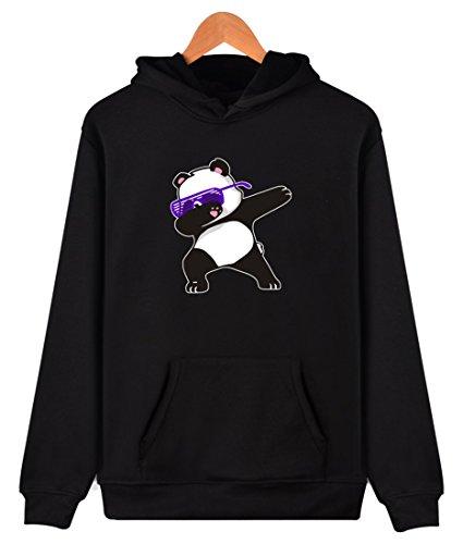 Eudolah Femme/Fille Pullover sweat à capuche autonome/hiver animaux imprimés fourré Panda-2 noir