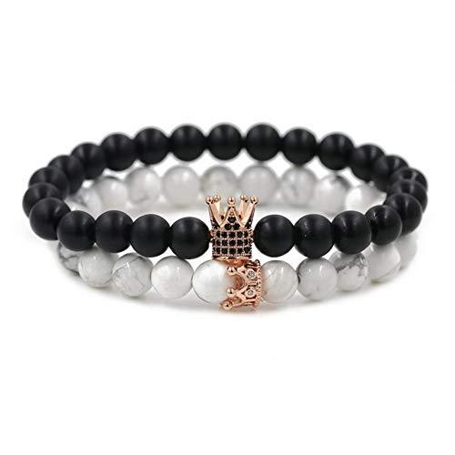 Yazilind König Königin Krone Sein und Ihr Paar Freundschaftsbänder Set Stein Armband Frauen Männer Perlen Elastische Stretch-Armband Set # 4