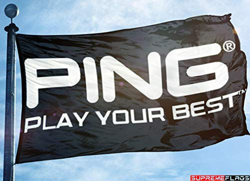 Brand New Ping Golf Flag (90 x 150 cm) Banner Play Your Best Wall Garage Black Flagge -