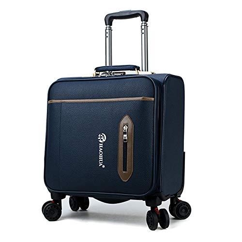 PQG Männer Reisetasche Pu-leder Trolley Universal Rad Mode Gepäck Business Kleine Tasche 4 Rad Warenkorb 18 \Größe -39x38x24 cm-blue (Großes Rad Warenkorb)