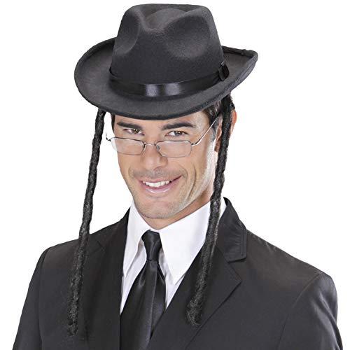 Amakando Rabbihut mit Zöpfen Rabbi Kopfbedeckung David Hut Rabbiner Juden Hut Kostüm Accessoire Jüdischer Hut mit - Rabbi Hut Kostüm