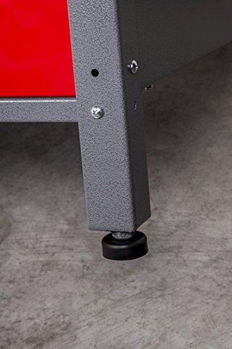 Werkbank aus Metall mit 30 mm Sperrholzplatte, robusten Oberflächen, verschließbaren Türen und Schublade, Maße B 1,20 x H 0,85 X T 0,60 m - 5