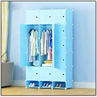 shengshiyujia Bedroom Plastic Storage Wardrobe PP Plastic Home Diy Portable Closet Easy Assembly Portable Folding Wardrobe,Blue