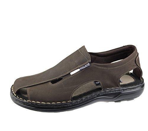 Homme Slip on Sandales décontracté de plage tendance décontracté Marche Chausson Chaussures en cuir Marron