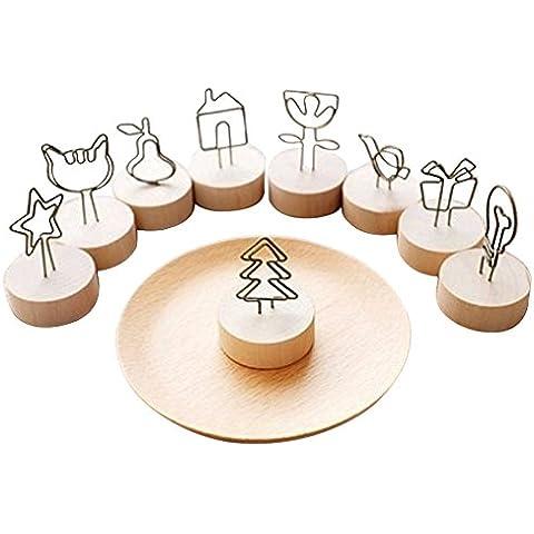 hangnuo 8pezzi base in legno Numero tavolo foto titolari Stands Nota Clip da tavolo porta